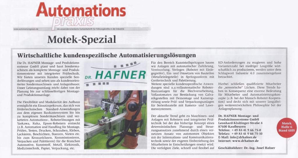 Automationspraxis Motek 2015 DrHafner