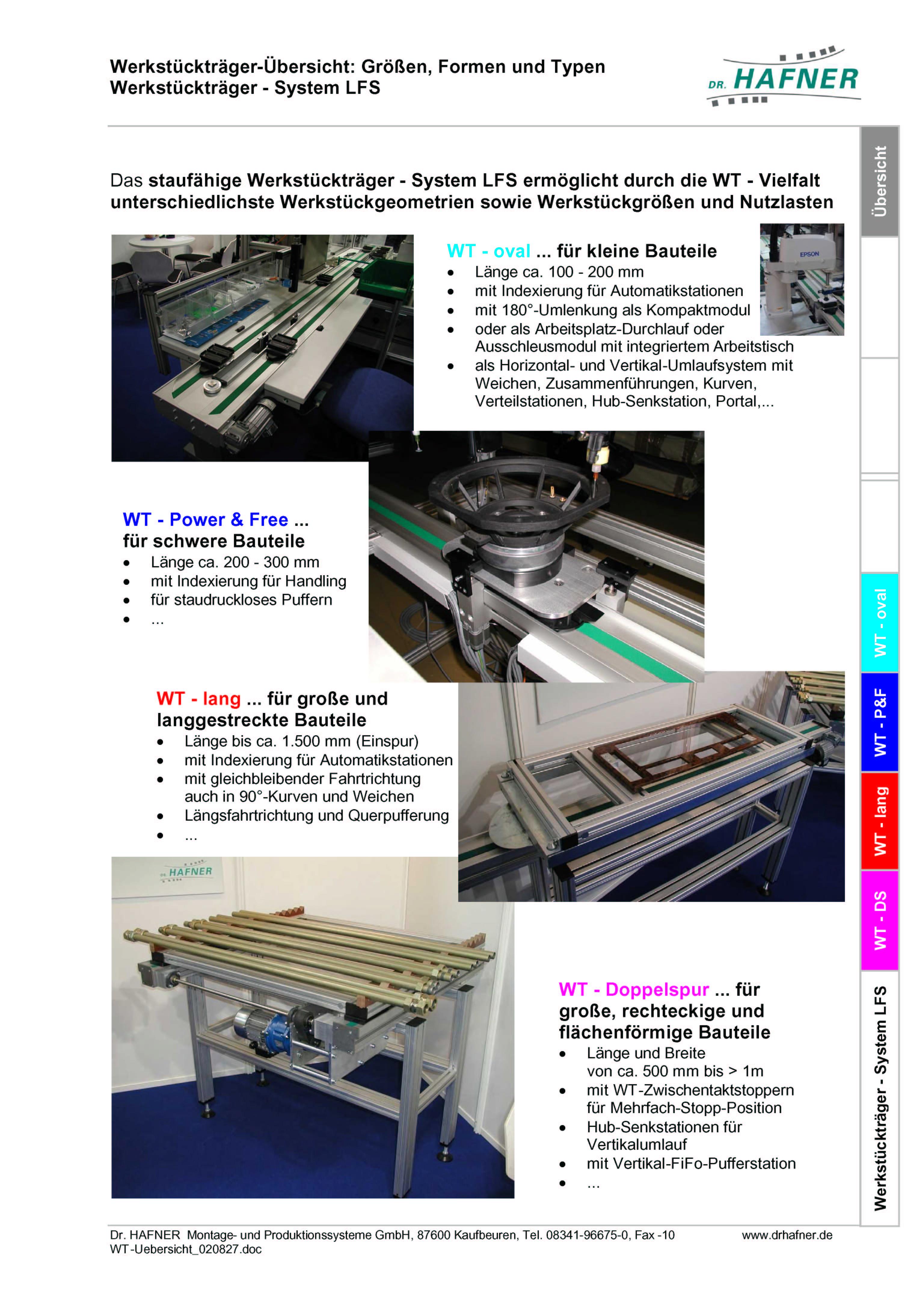 Werkstückträger - Übersicht; Größe, Form, Typ, ...