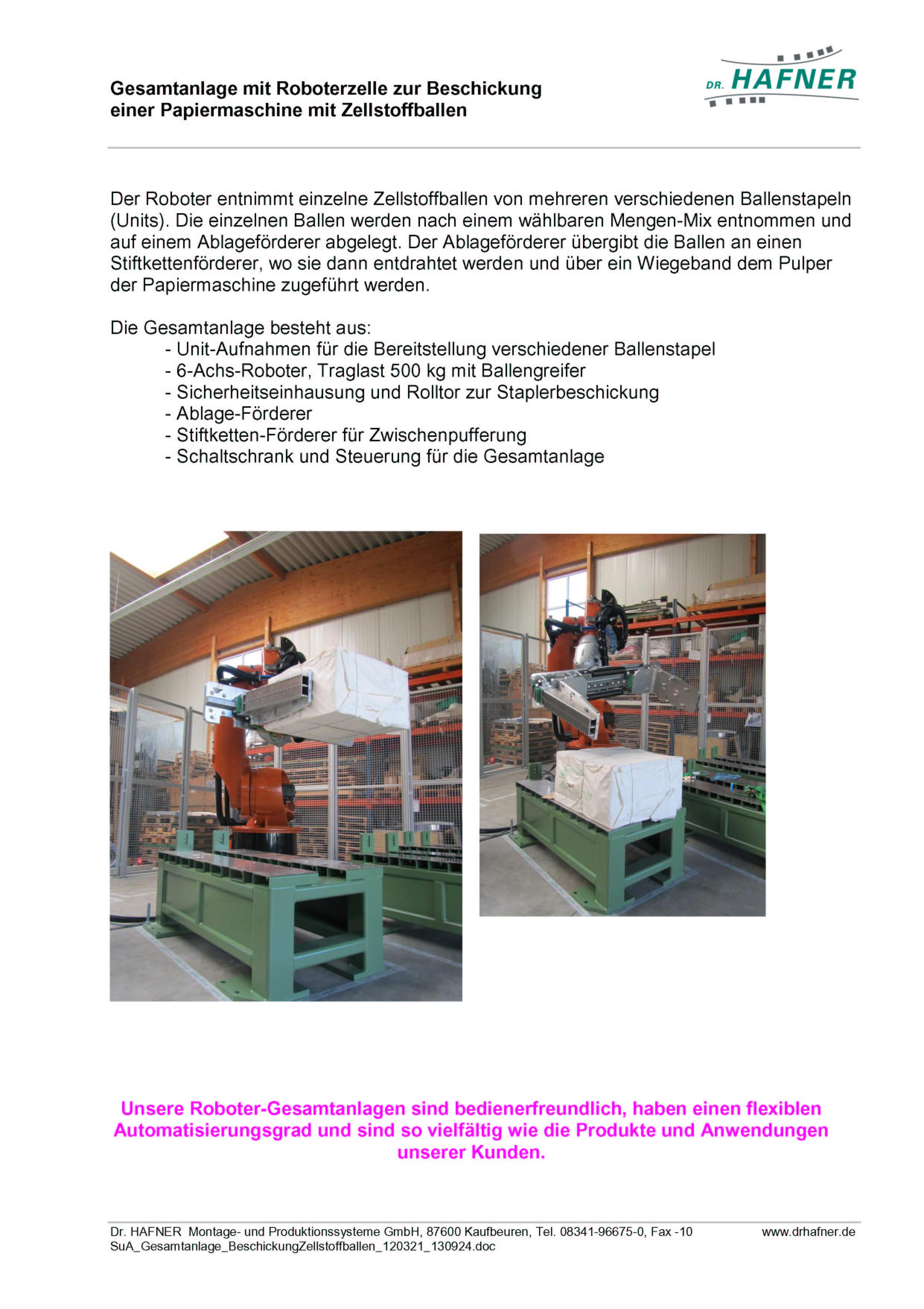 Dr. HAFNER_PKWP_58 Roboter Beschickung Papiermaschine Zellstoffballen