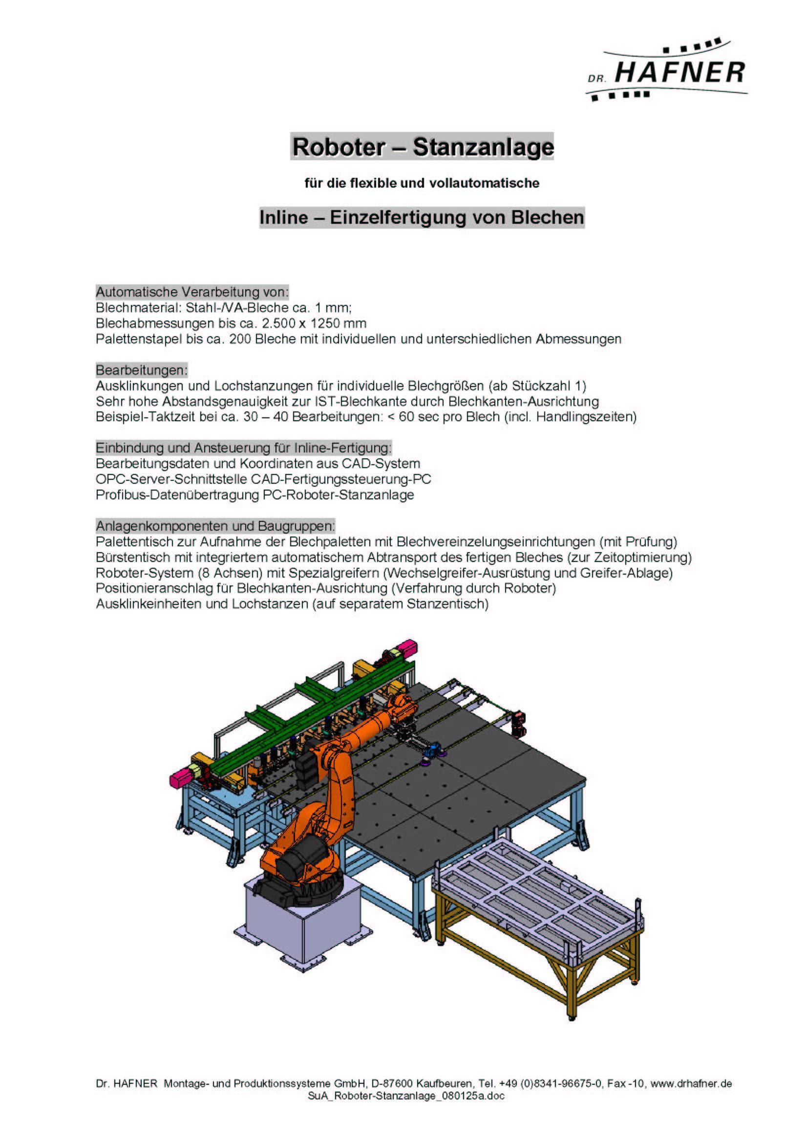 Dr. HAFNER_PKWP_59 Roboter Stanzanlage Einzelfertigung