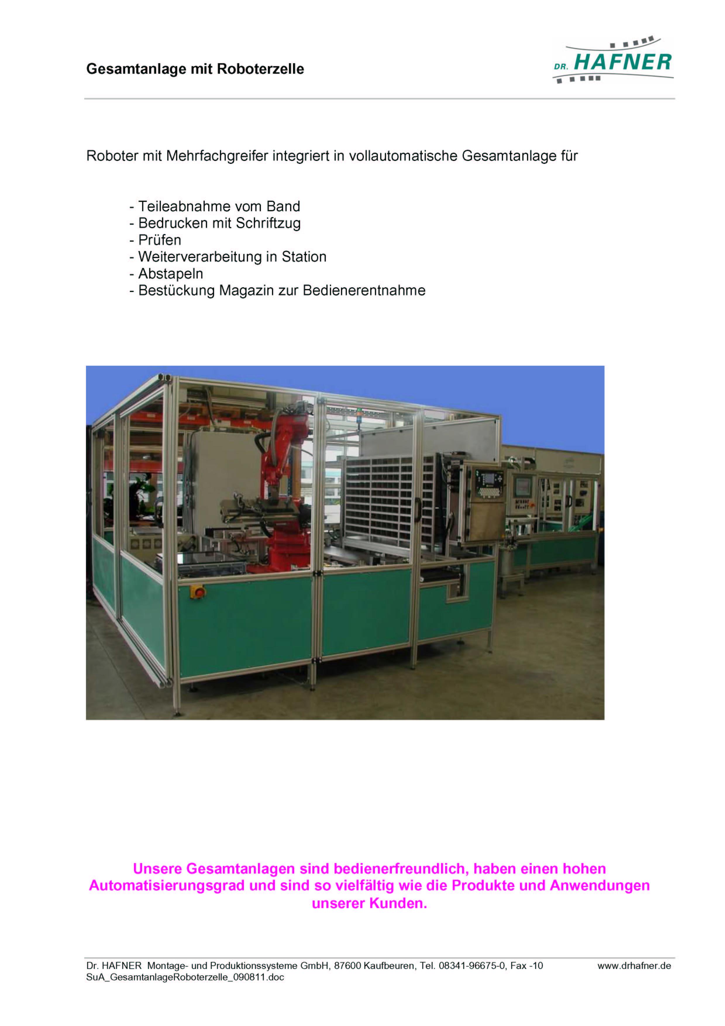 Dr. HAFNER_PKWP_60 Klebelinie Roboterzelle Stanzbiegeteil Draht