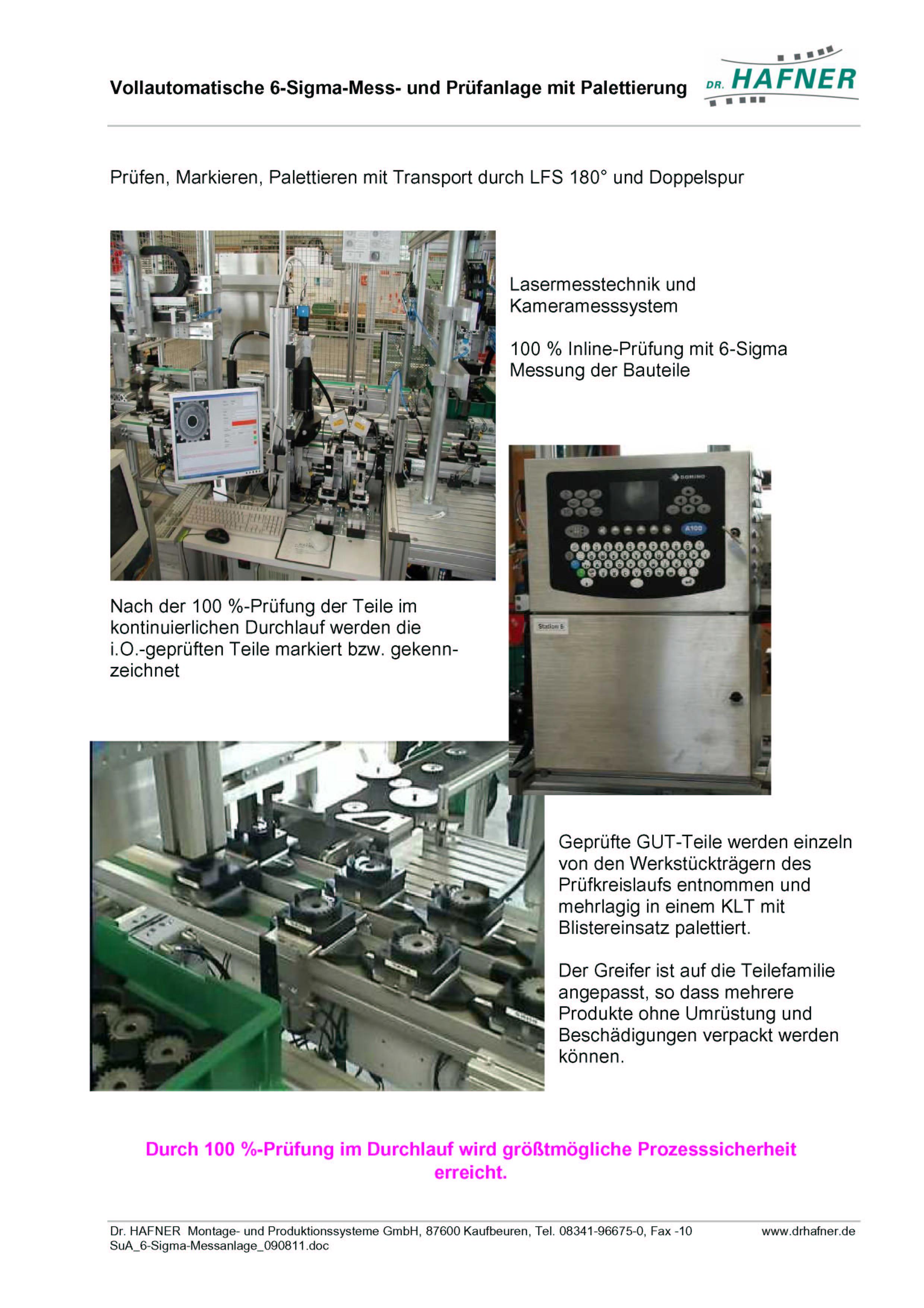 Dr. HAFNER_PKWP_63 6-Sigma Messen Prüfen Verpacken Anlage Automat
