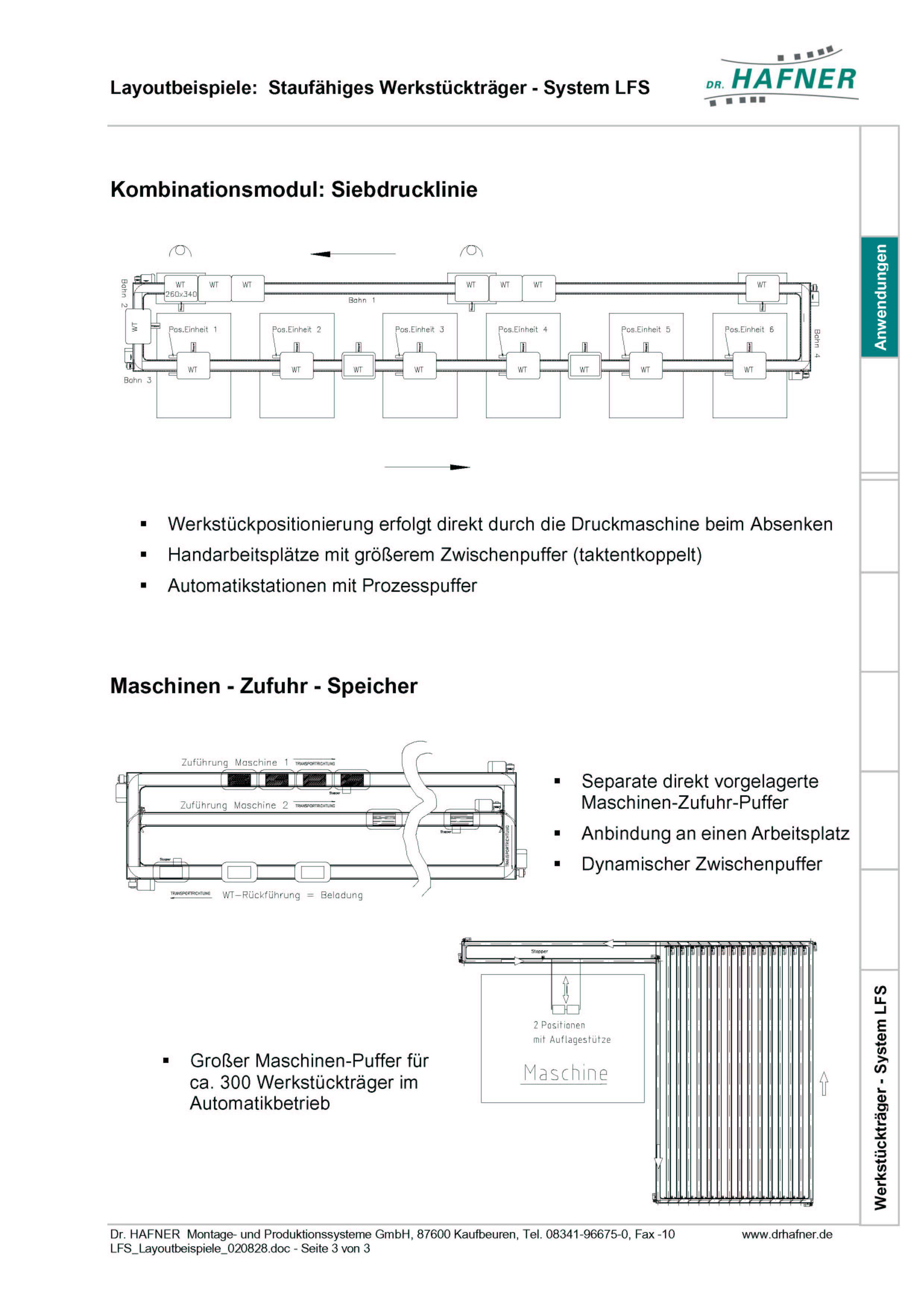 Dr. HAFNER_PKWP_34 Layout Siebdrucklinie Maschinen Zufuhr Speicher Werkstückträger