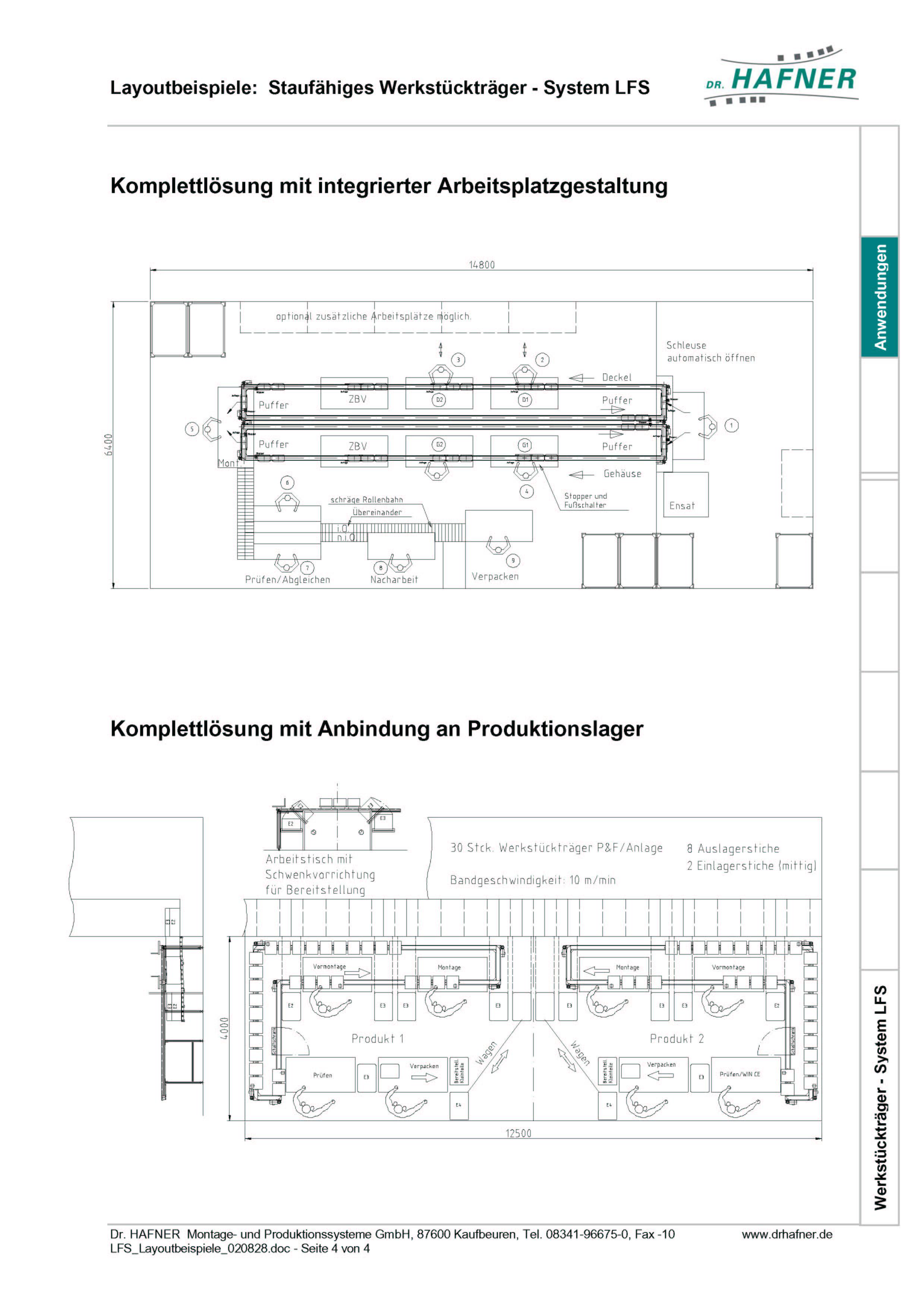 Dr. HAFNER_PKWP_35 Layout Arbeitsplatzgestaltung Produktionslager Werkstückträger