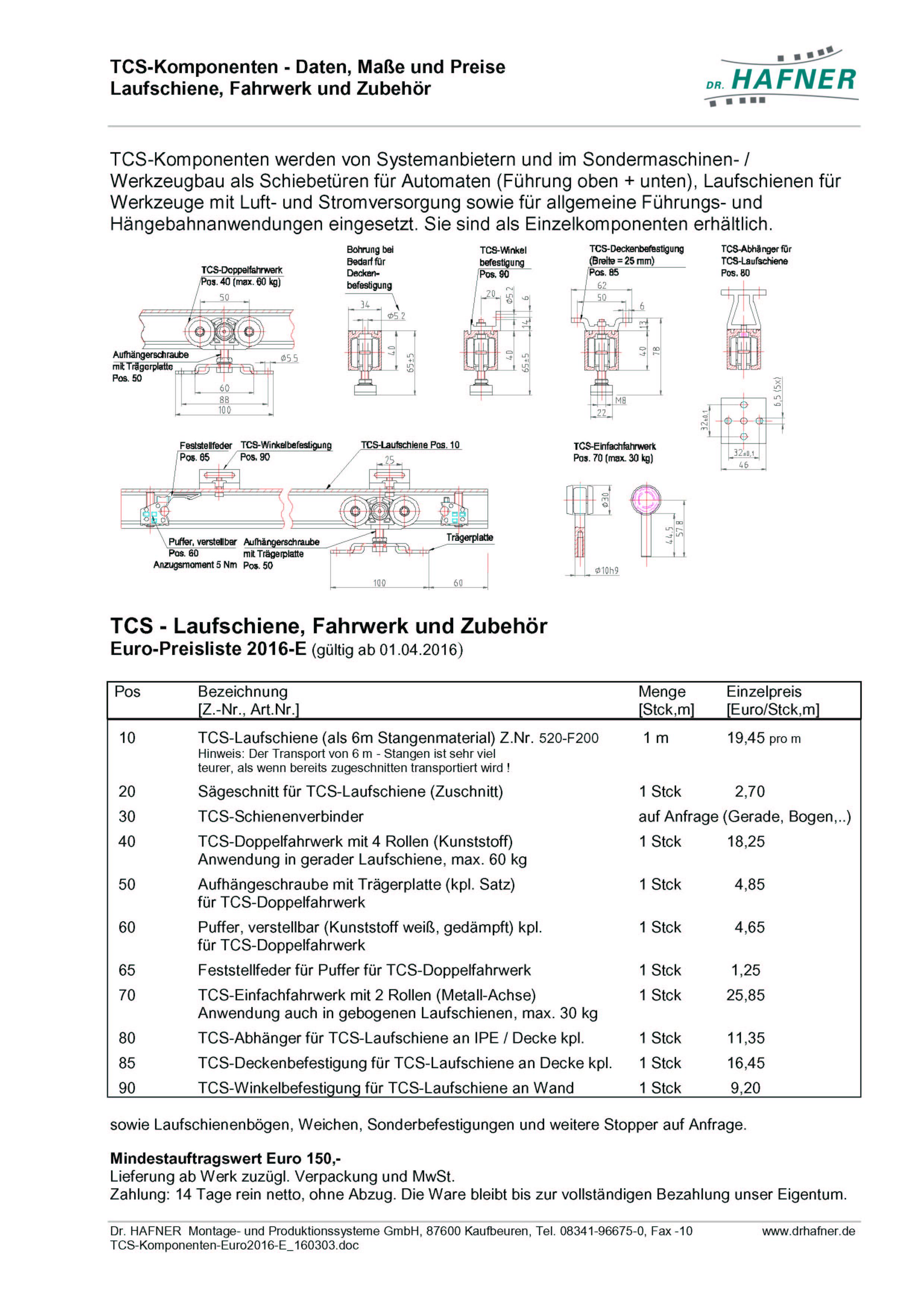 Dr. HAFNER_PKWP_47 Hängebahn Komponenten Laufschiene Zubehör Daten Preise-Euro2016-E_160303