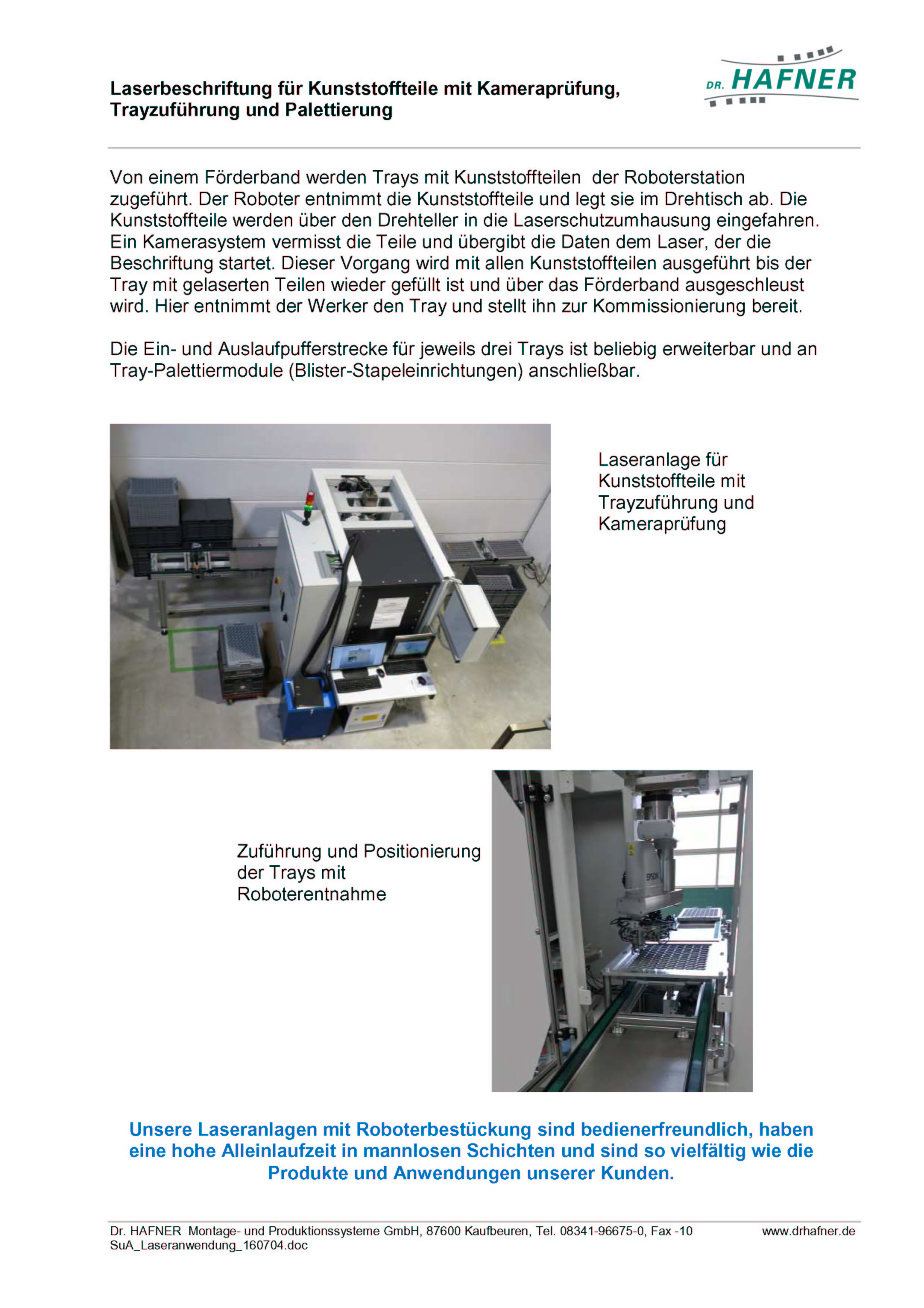 Laserbeschriftung Kunststoffteile Kameraprüfung Trayzuführung